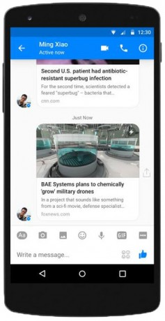 Facebook Adds Instant Articles to Messenger for Android