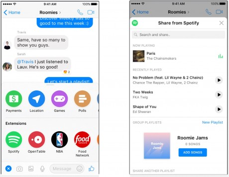 Spotify and Facebook Create Playlist Mashup In Messenger