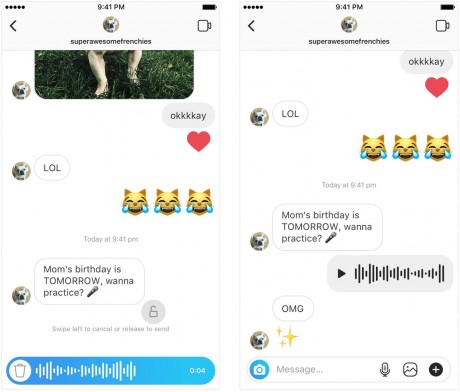 Instagram Users Can Now Send One Another Voice Messages
